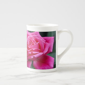 Two pink roses floral print tea cup