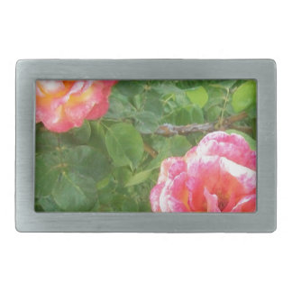 Two Pink & Yellow Spotted Roses on Green Belt Buckle