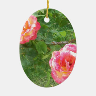 Two Pink & Yellow Spotted Roses on Green Ceramic Ornament