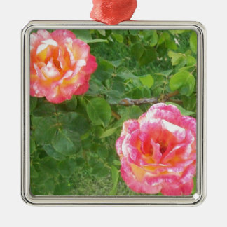 Two Pink & Yellow Spotted Roses on Green Metal Ornament
