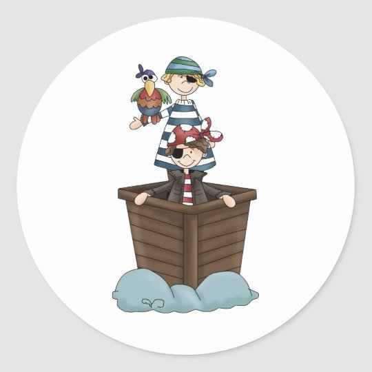 Two pirates classic round sticker