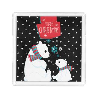 Two Polar Bears Merry Christmas Acrylic Tray