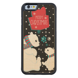 Two Polar Bears Merry Christmas Carved Maple iPhone 6 Bumper Case