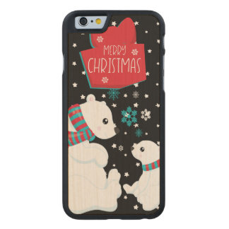 Two Polar Bears Merry Christmas Carved Maple iPhone 6 Case