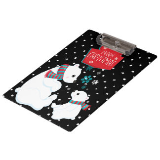 Two Polar Bears Merry Christmas Clipboard