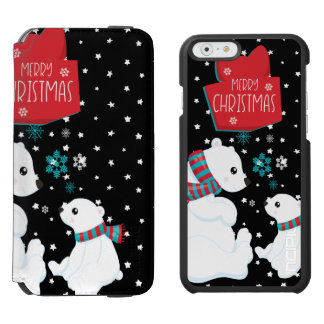 Two Polar Bears Merry Christmas Incipio Watson™ iPhone 6 Wallet Case