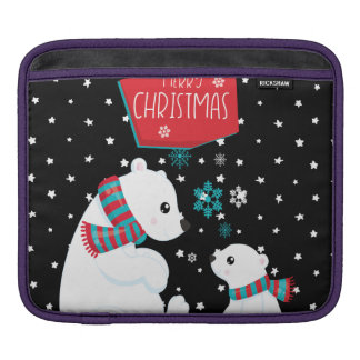 Two Polar Bears Merry Christmas iPad Sleeve