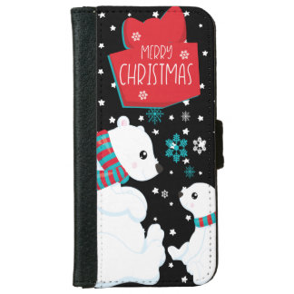 Two Polar Bears Merry Christmas iPhone 6 Wallet Case