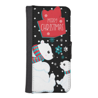 Two Polar Bears Merry Christmas iPhone SE/5/5s Wallet Case