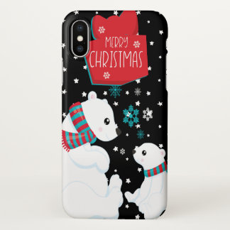 Two Polar Bears Merry Christmas iPhone X Case