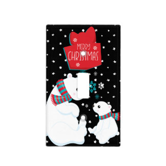 Two Polar Bears Merry Christmas Light Switch Cover