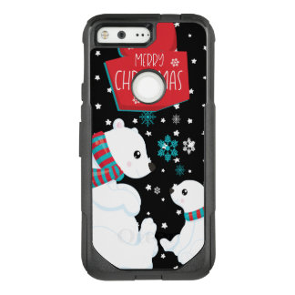 Two Polar Bears Merry Christmas OtterBox Commuter Google Pixel Case
