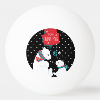 Two Polar Bears Merry Christmas Ping Pong Ball