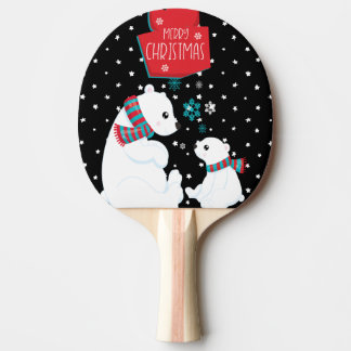 Two Polar Bears Merry Christmas Ping Pong Paddle