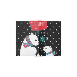 Two Polar Bears Merry Christmas Pocket Moleskine Notebook