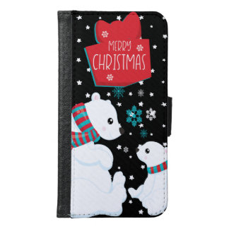 Two Polar Bears Merry Christmas Samsung Galaxy S6 Wallet Case