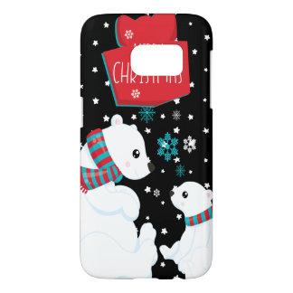 Two Polar Bears Merry Christmas Samsung Galaxy S7 Case