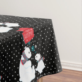 Two Polar Bears Merry Christmas Tablecloth