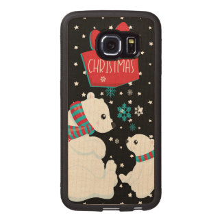 Two Polar Bears Merry Christmas Wood Phone Case