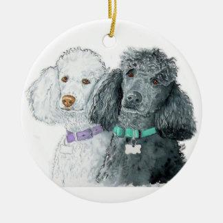 Two Poodles Ceramic Ornament