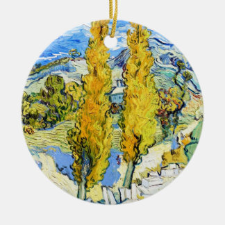 Two Poplars on a Hill Vincent van Gogh Round Ceramic Ornament