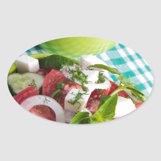 Two portions of useful vegetarian meal closeup oval sticker