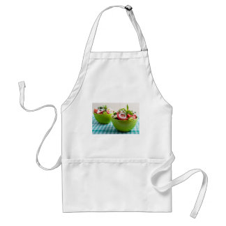 Two portions of useful vegetarian meal standard apron