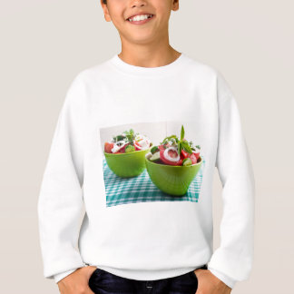 Two portions of useful vegetarian meal sweatshirt