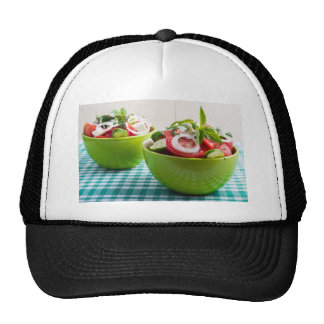 Two portions of useful vegetarian meal trucker hat