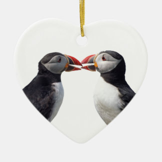 Two puffins ceramic heart ornament