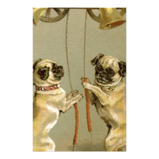 Two pug dogs ringing the Christmas bells Customized Stationery