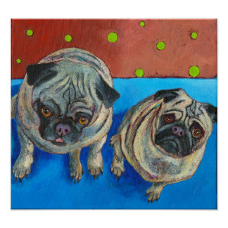 """Two Pugs"" Poster"