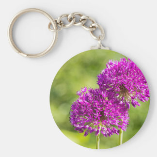 Two purple flowers of ornamental onions together keychain