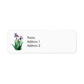 Two Purple Irises Return Address Label