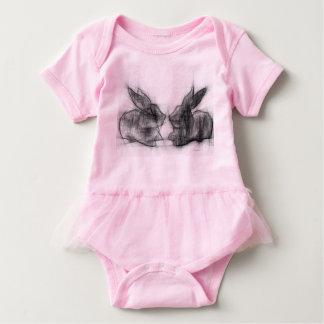 Two rabbits baby bodysuit