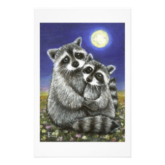 Two raccoons madly in love personalized stationery