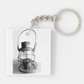 Two Railroad Lanterns Double-Sided Square Acrylic Keychain