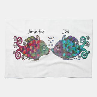 Two Rainbow Whimsical Fish Pair Couple Very Unique Kitchen Towel