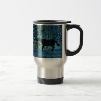 Two Ranch Horses Playfighting at Night in Winter Travel Mug