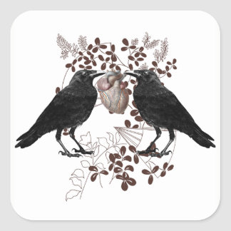 Two Ravens And Heart Square Sticker