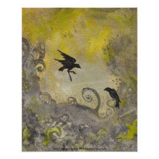 Two Ravens on Smokey Yellow Abstract Art Poster