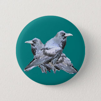 Two Ravens teal Gifts 2 Inch Round Button