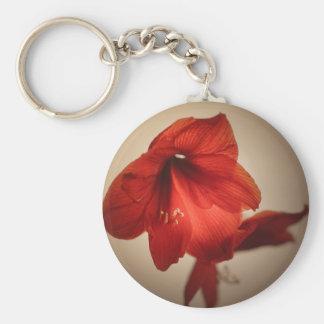 Two red amaryllis flowers keychain