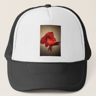 Two red amaryllis flowers trucker hat