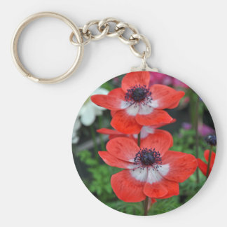 Two red and white poppies basic round button keychain