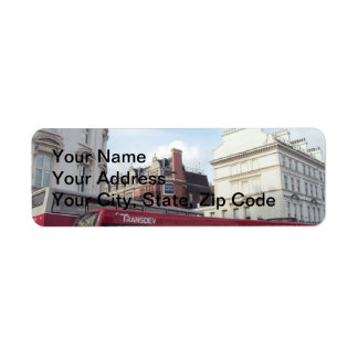 Two Red Buses Neck-To-Neck Return Address Label