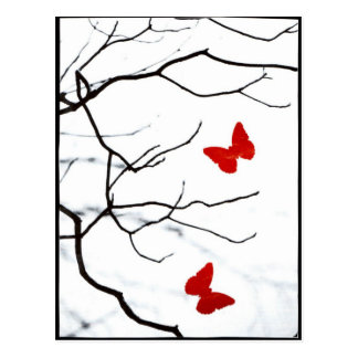 Two Red Butterflies Postcard