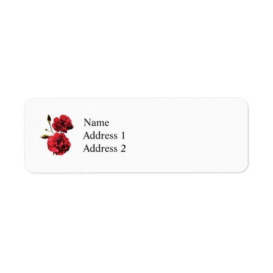 Two Red Carnations with Buds Return Address Label