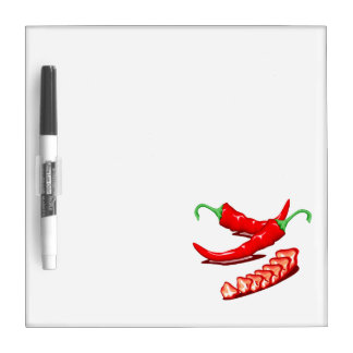 Two red chili peppers one cut up also dry erase board