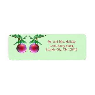 Two Red Christmas Balls Return Address Label